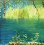 An der Rur, 2014, Öl auf Leinwand, 100 x 100 cm