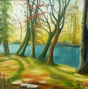 Rurspaziergang, 2014, Öl auf Leinwand, 100 x 100 cm
