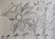 flower with branches with leaves with dots on it and bird