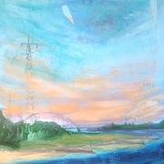 Elisabeth Wagner, Acryl mit Collage auf Leinwand, Strom, 80x80cm, 2017