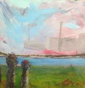 Elisabeth Wagner, Acryl mit Collage auf Leinwand, Rheinwiese, 80x80cm, 2017