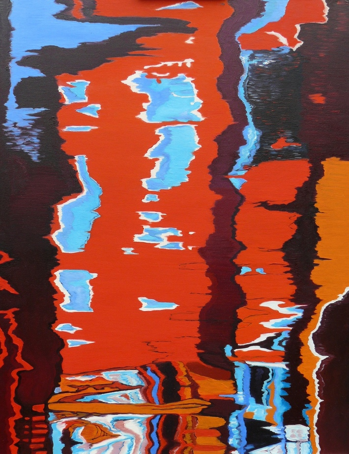 LEONI A.Jäkel, Fractured Red v, 90 x 70cm, Öl auf Leinwand