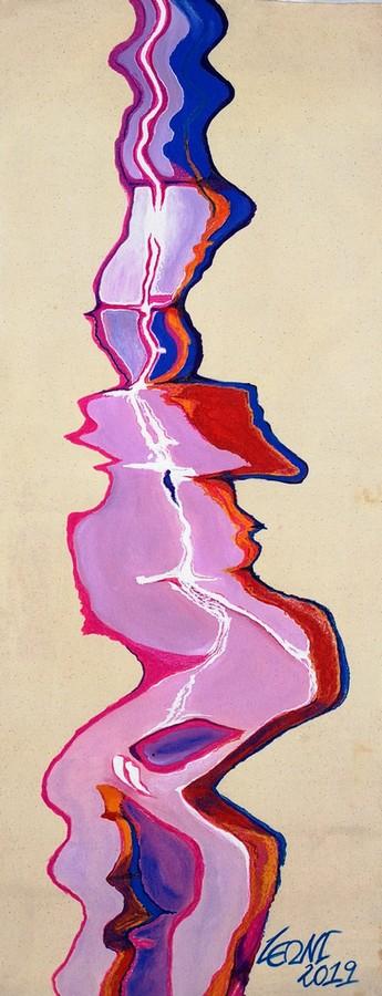 LEONI A. Jäkel, Floating Lines1,112 x 43cm, Acryl + Marker auf Leinwand, 2019