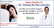 American Woman benefits from Low Cost Robotic Urology Surgery in India