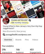 """On Our Verified Pinterest Page.. We Now Have """"15K Monthly Viewers"""" And Growing Bigger & Bigger By The Day!! https://www.pinterest.com/younggifted1996/"""