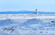 Ludington, Michigan, lighthouse & ice