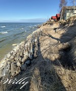 Houses and beach erosion just north of Michigan's Little Sable point lighthouse