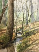 """Below the Dam"" (C.G. Hill Park Forsyth County, NC) 6 1/2"" x 9"" watercolor"