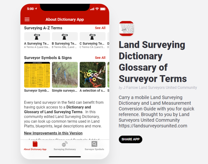 Major Upgrade to Land Surveyor Dictionary App - New Features