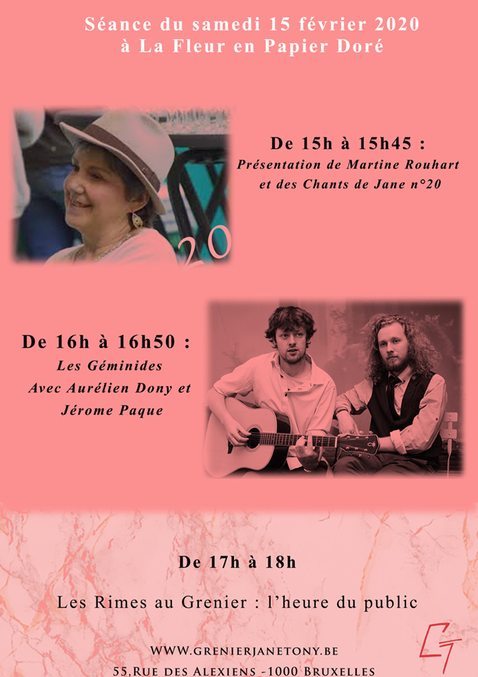 Les Chants de Jane 20 au grenier Jane Tony le 15 février