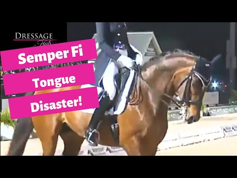 Semper Fidelis Waves Tongue At Judges During Grand Prix Freestyle With Heather Blitz