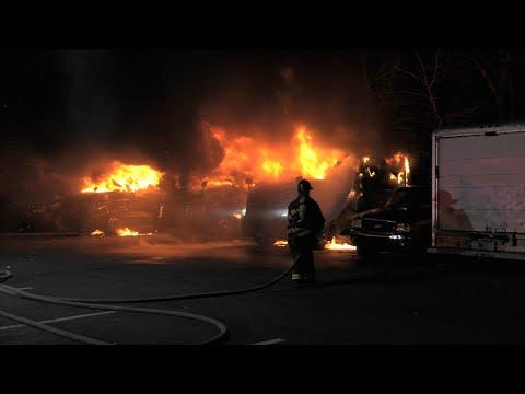 EARLY VIDEO: Multiple Trucks burning in Allentown, Pennsylvania