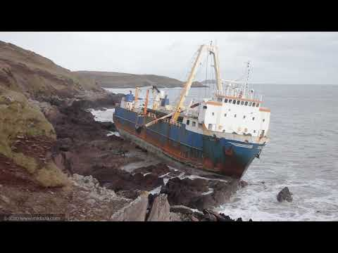 Cargo Ghost Ship Alta Grounded at Ballycotton, Co. Cork,  Ireland. - Storm Denis