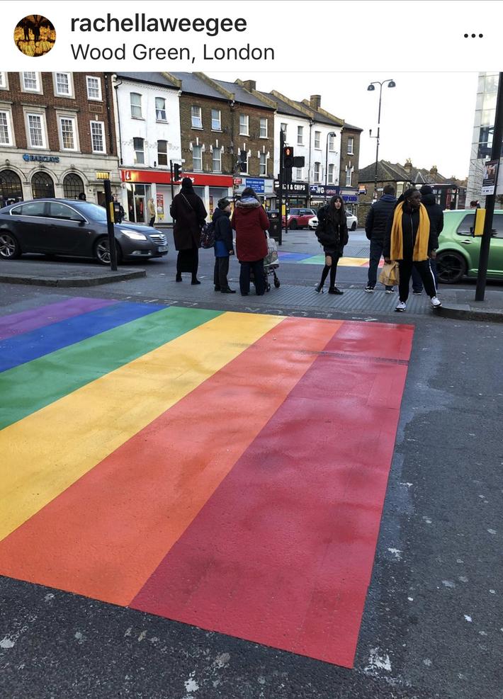 rainbow crosswalk -Wood Green
