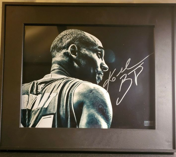 Likely Not Genuine: Kobe Bryant Autographed 8×10 Black And White Framed $130