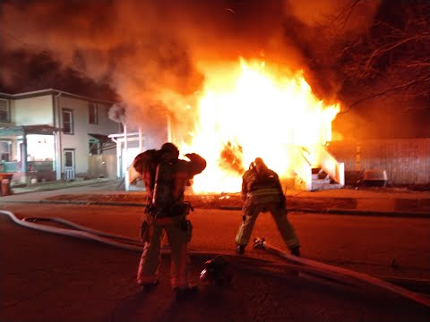 Newark Ohio Fire Department Command View of House Fire with Evacuation Order at 54 Chestnut Street
