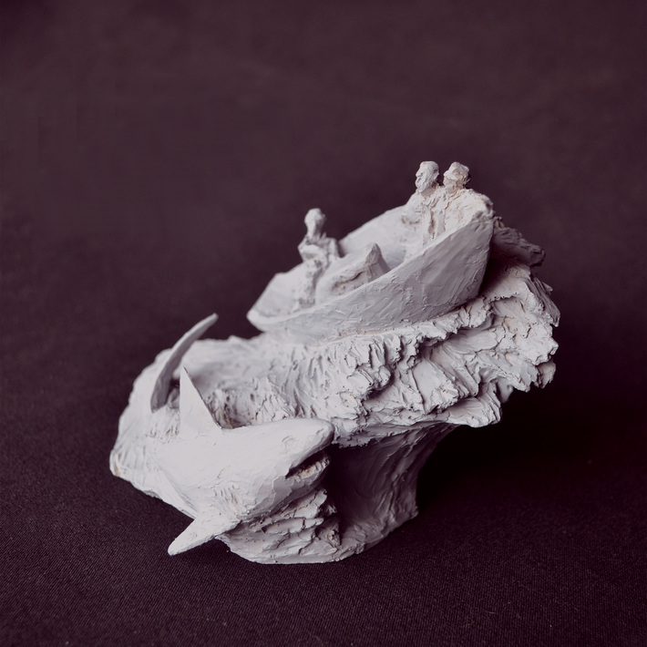 """Encounter"" Cast resin sculpture, miniature, front view"
