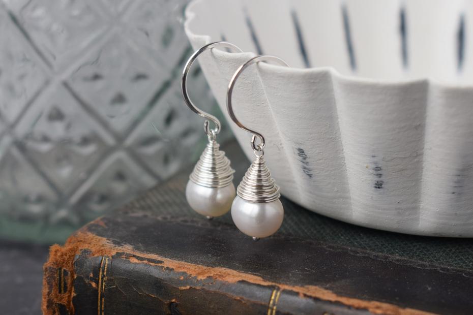 Pearl Wire Wrapped Earrings