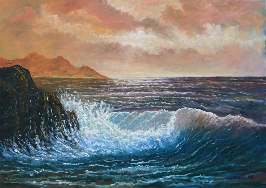 Welle im Abendrot