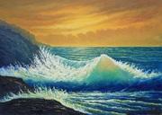 Welle im Abendlicht
