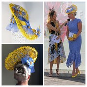 Yellow and corn blue headpiece