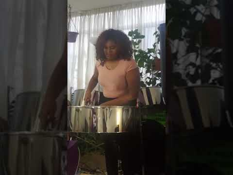 16 year old Trenyce Sweeney playing the steel pan at home. A Tribute to those affected during COVID