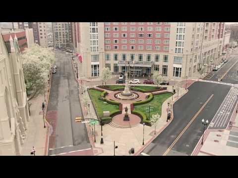 New Brunswick, New Jersey - COVID19 Quarantine - Drone Aerial View *Empty Streets*