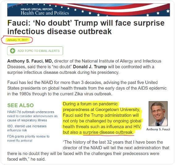 Fauci Warns of Outbreak  In 2017 (Not the Flu)