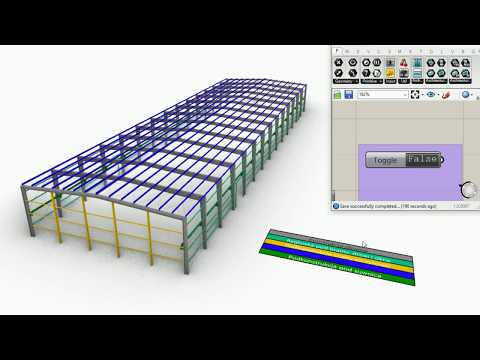 Steel warehouse visualization and scheme in Grasshopper + VisualARQ