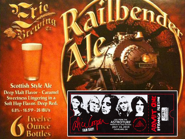 Railbender the official beer of our multiple Alice Cooper concerts 2019.  Blue Coupe July 11. Alice Cooper Fan day RnR Hall of Fame July 14.  Alice Cooper concert Burgettstown, Pa July 19.