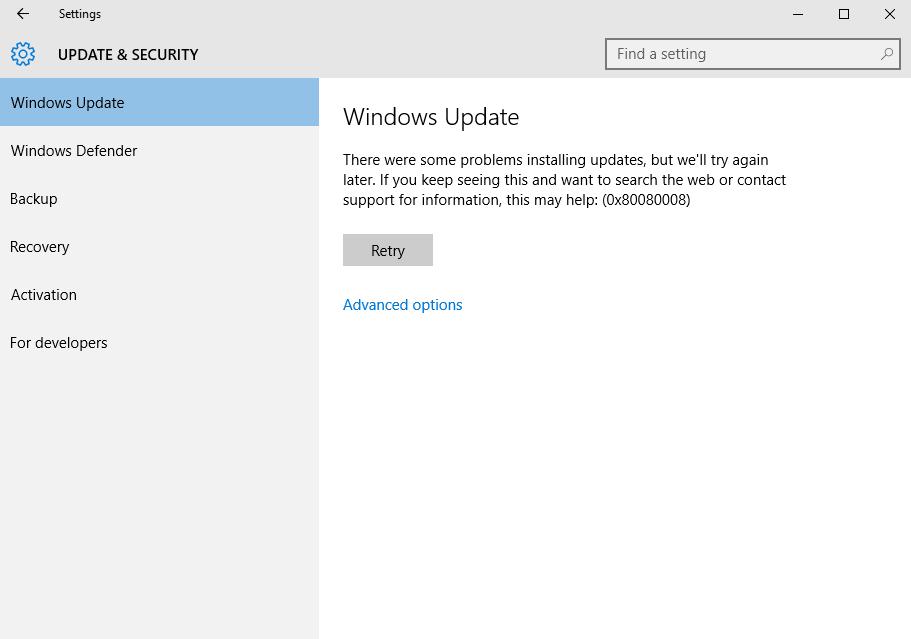 Comment réparer Windows 10 Update Error 0x80080008