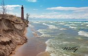 Little Sable Point Lighthouse, Michigan.  Lake Michigan beach erosion update