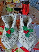 Christmas Hand knitted slippers!