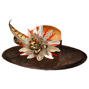 Wide Pheasant feather flower Hat