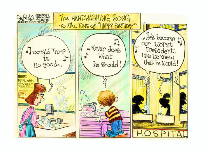 "The HANDWASHING SONG to the tune of ""Happy Birthday"": (woman with apron washing hands in employee restroom) ""♫ Donald Trump is no good...♪"" (boy on stepstool washing hands) ""♪...Never does what he should! ♫"" (three people in unison, seen through three windows of a hospital) ""♪...He's become our worst president, like we knew that he would! ♫"""
