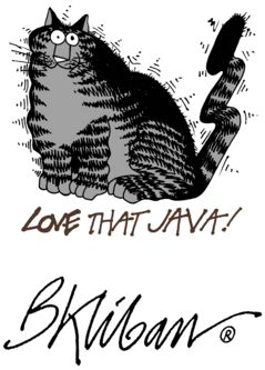 Kliban cat, shaking and jittering with lightning bolt tail, captioned 'Love that java!'