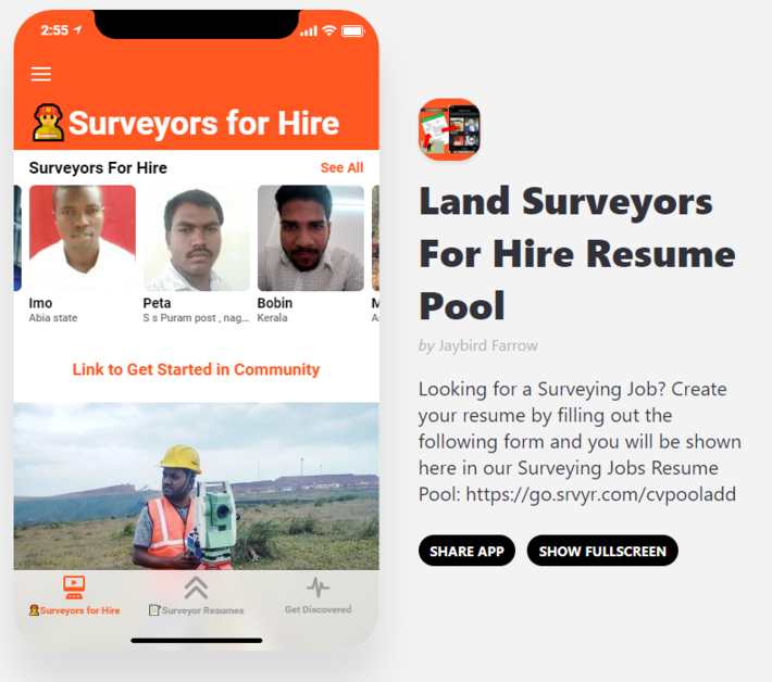 Mobile App for Recruiters of Land Surveyors