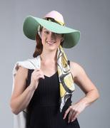 Fedora with silk scarf