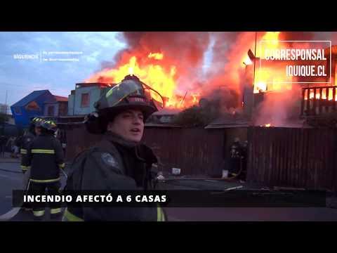 INCENDIO AFECTÓ A 6 CASAS EN IQUIQUE - CHILE / Vídeo Destacado de La Hermandad de Bomberos