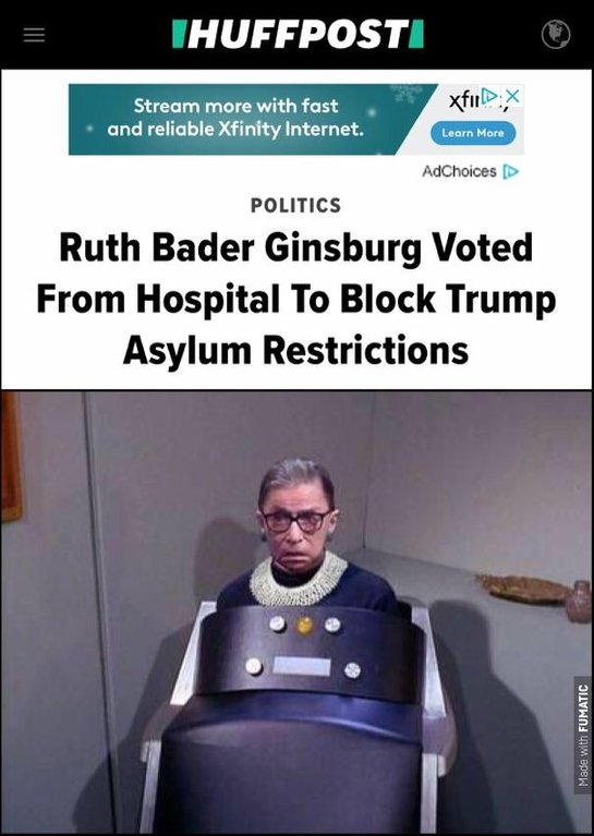 Two beeps for yes, one beep for no Ruth Bader Ginsburg. Was she medicated during the vote?