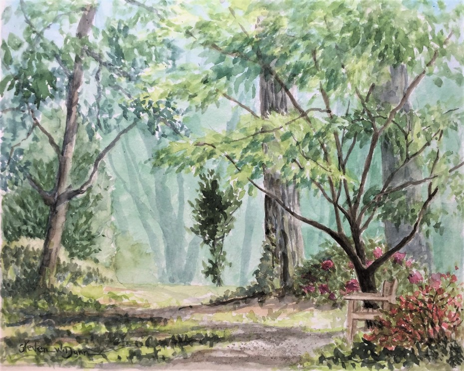 "At Bianca Artum Garden 8"" x 10"" watercolor"