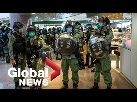 Hong Kong protests: Demonstrators clash with police after Mother's Day march denied