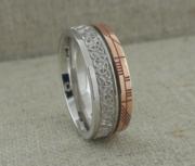 Trinity Knot Wedding Ring with Custom Rose Gold Rail Edge