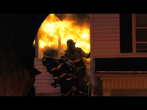 Firefighters caught in flashover attacking apartment fire in Northampton, PA.