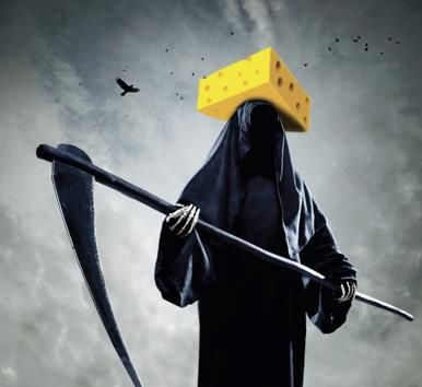 Death, the Grim Reaper, with robe, scythe, and Wisconsin cheesehead