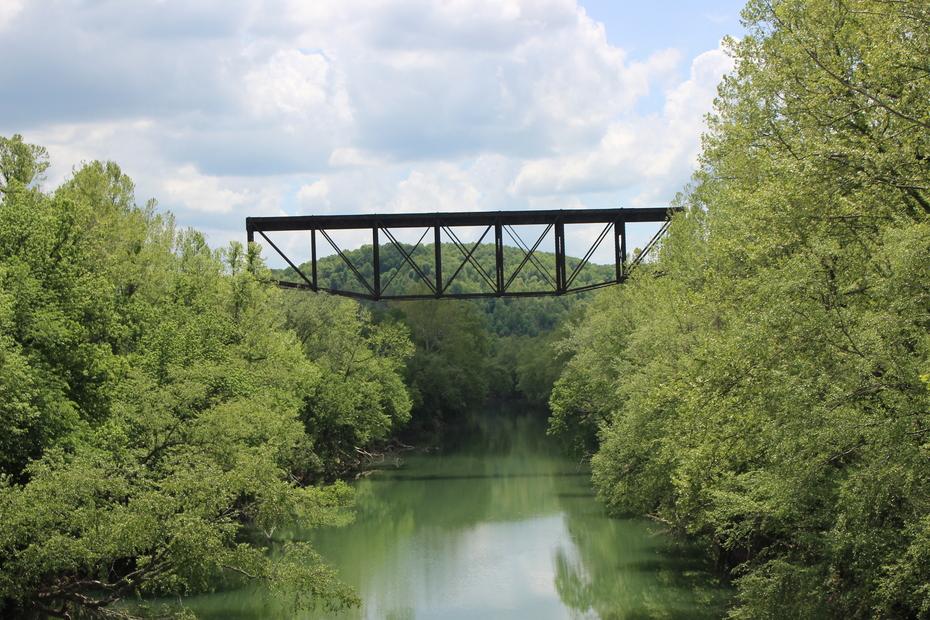abandoned rail bridge over New River