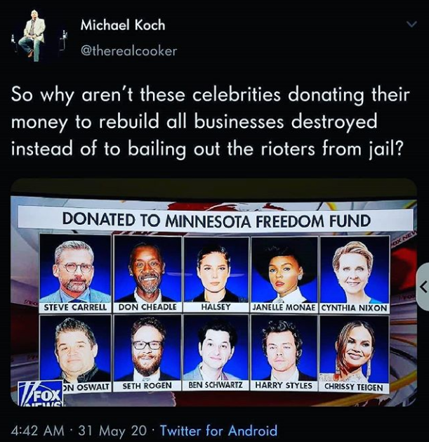 Celebs donate to Antifa fund.