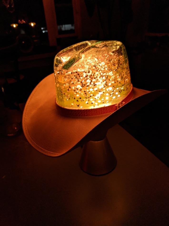 My newest creation - Custom Made Cowboy Hat Glitter Lamp