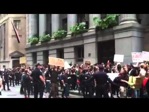 #OccupyWallStreet Protesting Outside Wall Street