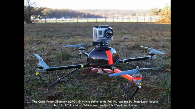 The QRO v5 quadcopter with a GoPro HD wide on board